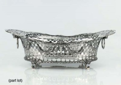 A Dutch silver bread-basket, a