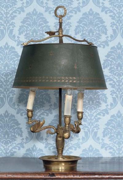 AN ORMOLU AND TÔLE PAINTE LAMP