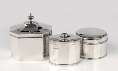 An English silver biscuit box