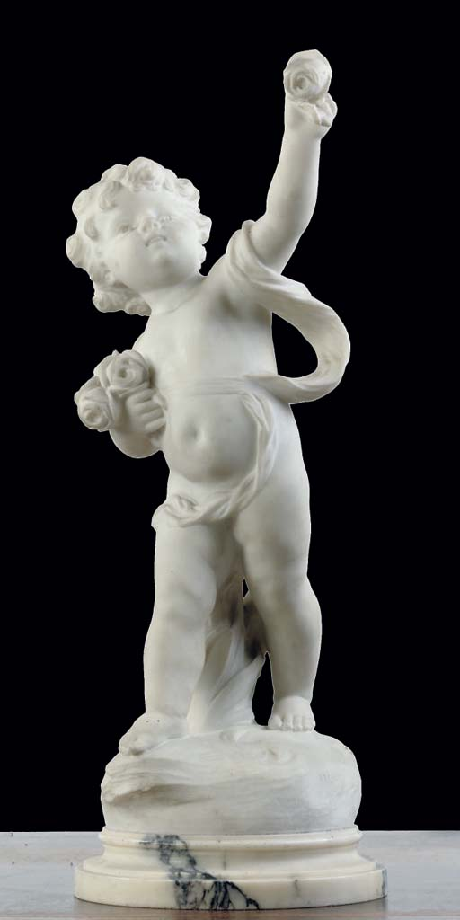 A FRENCH WHITE MARBLE FIGURE O