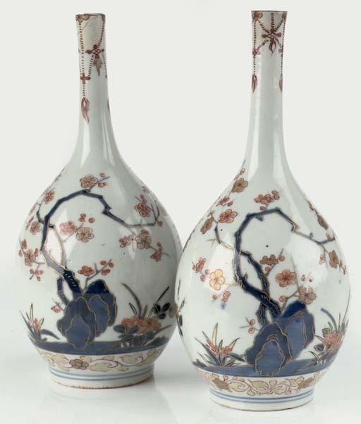A pair of Japanese Imari bottl