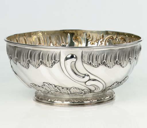 A German silver punch bowl