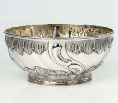 A German silver punch bowl