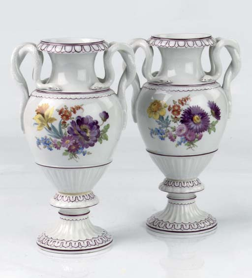 A pair of Meissen snake-handle
