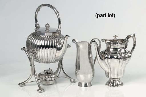 A German silver coffee-pot, a