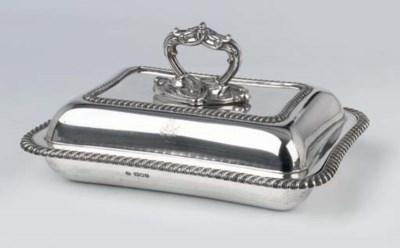 An English silver entree dish
