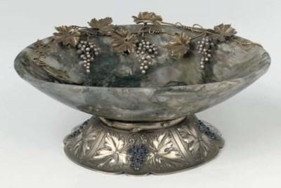 A moss agathe and silver-gilt