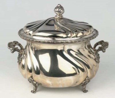 A large German silver tureen w