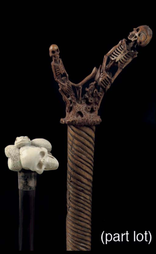 Four canes with skulls and cor