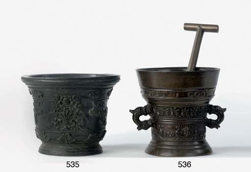 A FRENCH BRONZE MORTAR