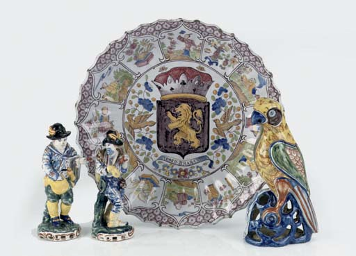 Four Delftware polychrome obje