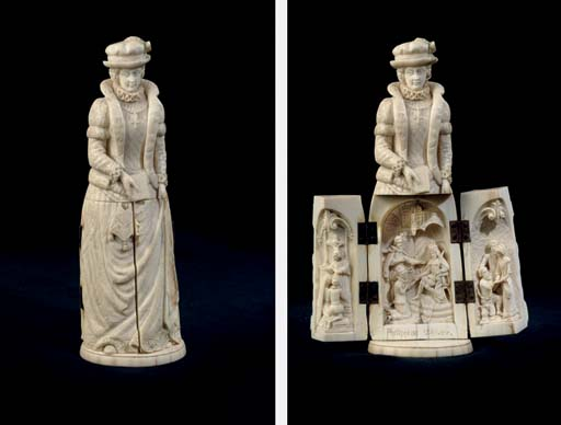 A FRENCH CARVED IVORY TRIPTYCH