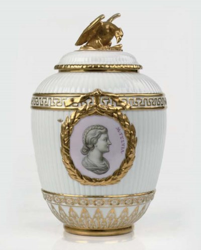 A Berlin (KPM) vase and cover