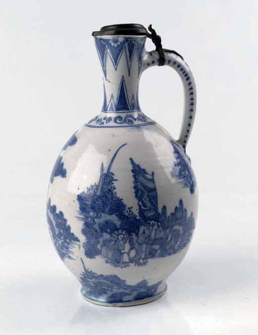 A Dutch Delft pewter-mounted c