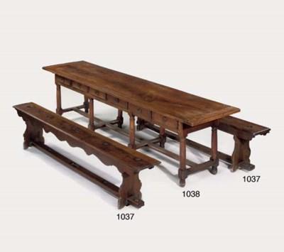 A FRENCH WALNUT REFECTORY TABL