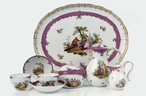 A Meissen outside-decorated ga