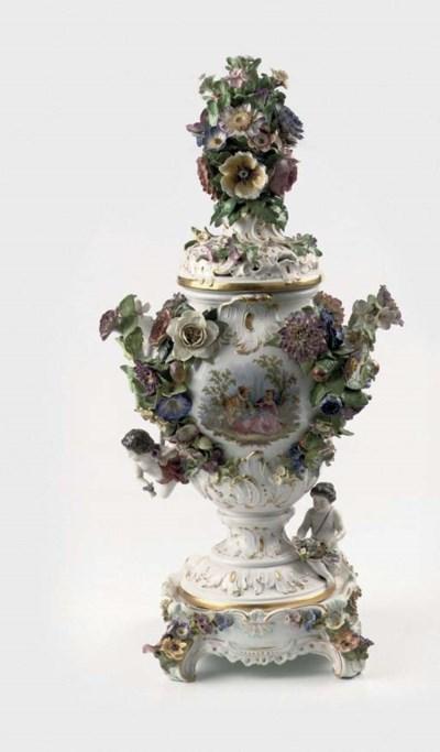 A Meissen flower-encrusted pot
