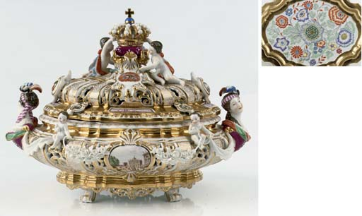 A Meissen armorial double-wall
