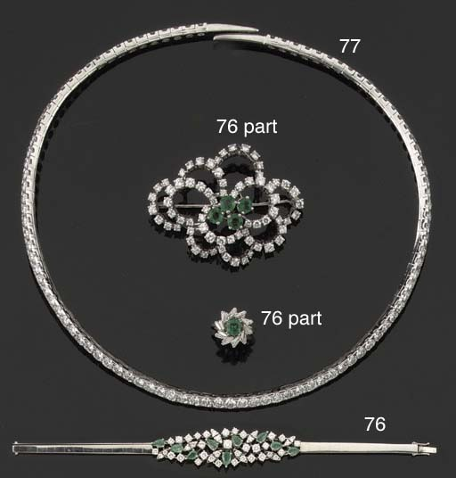 AN EMERALD AND DIAMOND PARURE