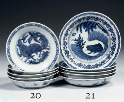 A set of five late Ming blue a