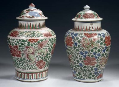 Two wucai baluster jars and co
