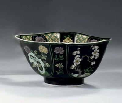 A famille noire square bowl