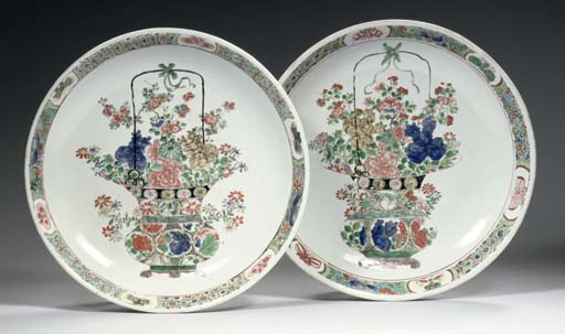 A pair of famille verte saucer