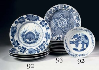Nine various blue and white pl