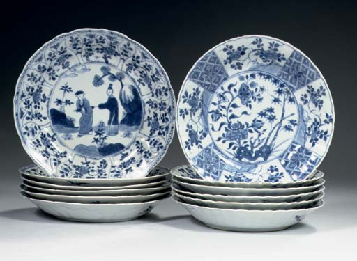 Two sets of six blue and white