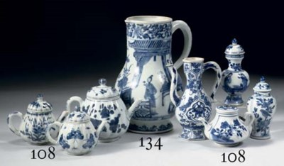 Four blue and white ewers and