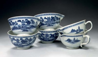 A set of six blue and white 'N