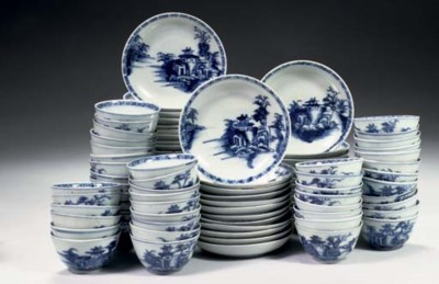 A set of forty-eight blue and