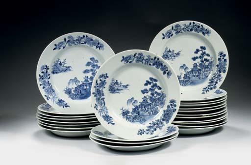A set of twenty-four blue and