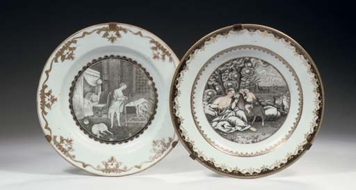 Two grisaille and gilt 'Europe