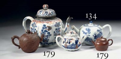 Two Imari and two Yixing teapo