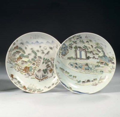 Two enamelled 'topographical'