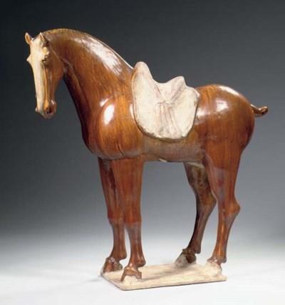 A large amber-glazed pottery f