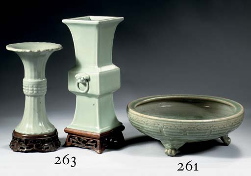 A celadon tripod censer and di