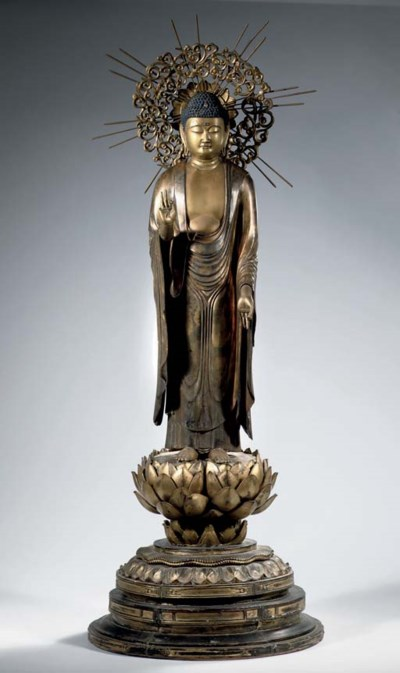 A large Japanese gilt wood fig