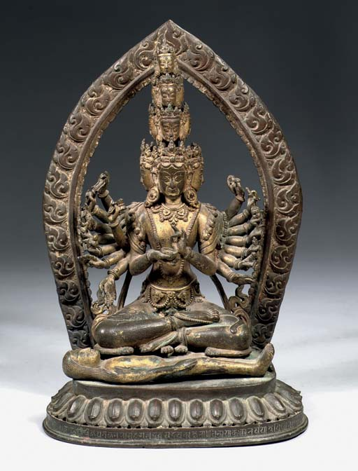 A Nepalese parcel-gilt bronze