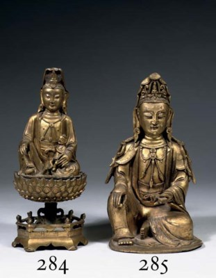 A Chinese gilt-bronze figure o
