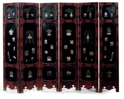 A six-panel lacquer screen