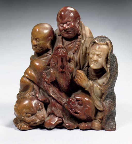 A soapstone figure group