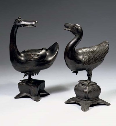 Two Ming bronze censers and co