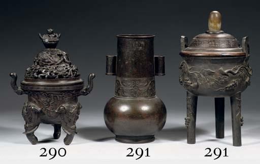 A bronze arrow vase and a trip