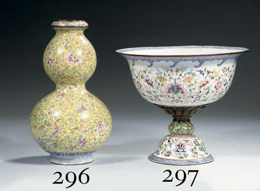 A Canton enamel footed bowl