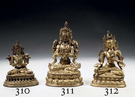 A Tibeto Chinese gilt-bronze f