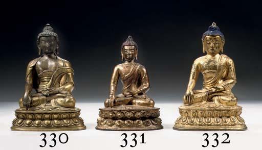 A Tibeto Chinese gilt bronze f