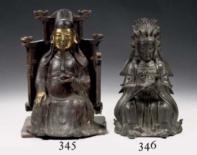 A Chinese bronze Daoist figure
