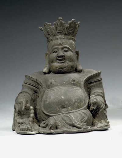 A bronze figure of Budai